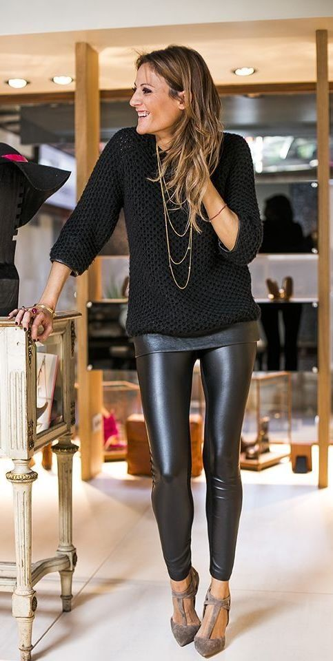 #black wet look leather tights with layered top and sweater; SEXY!
