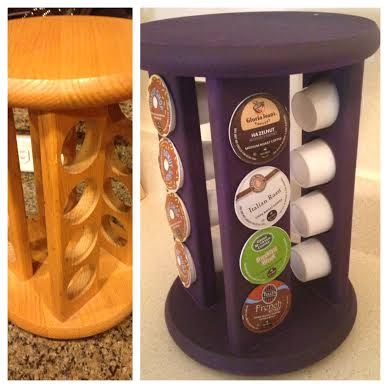 DIY Keurig Cup Holder - Before and After Upcycle Project (bought old spice rack at Goodwill for 2 bucks) Tutorial on Blog! *My Slice of Sunday