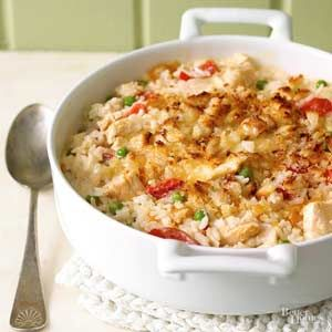 Looking for a yummy casserole recipe? This old-fashioned chicken and rice main dish is truly comfort food at its best./
