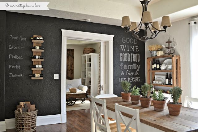 Love this chalkboard wall treatment! Especially the wine names.