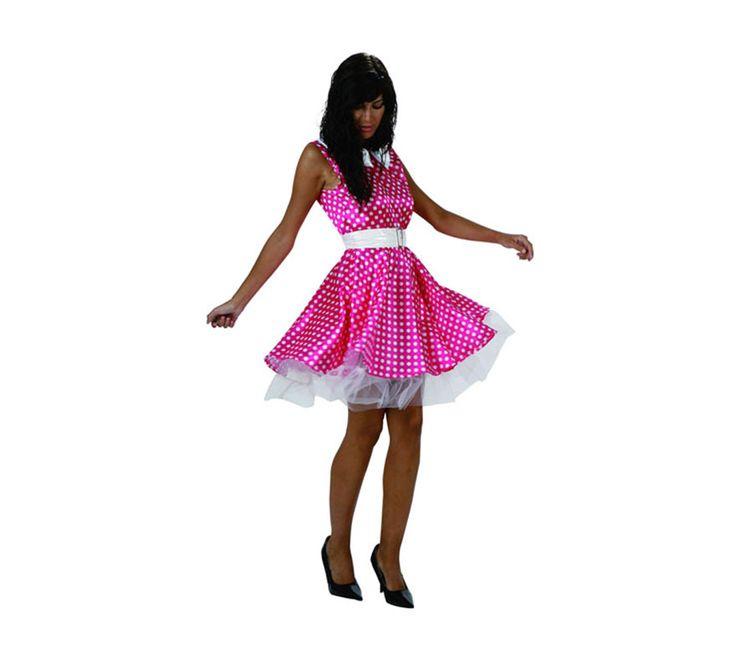 Disfraz o vestido rosa de chica de los a os 60 para mujer for Disfraces de los anos 60