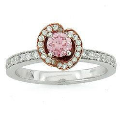 Pave' Diamond Flower Engagement Ring By Sareen Jewlery With a Chatham Diamond $5995