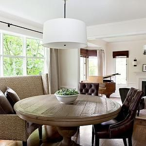 white pendant with beautiful round table