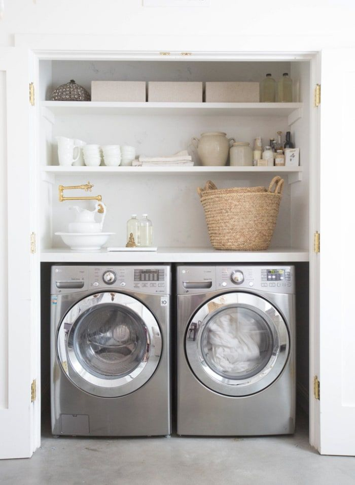 These Laundry Closets Tackle Chore Day In The Smartest Way Small Laundry Rooms Laundry Room Closet Laundry Room Decor