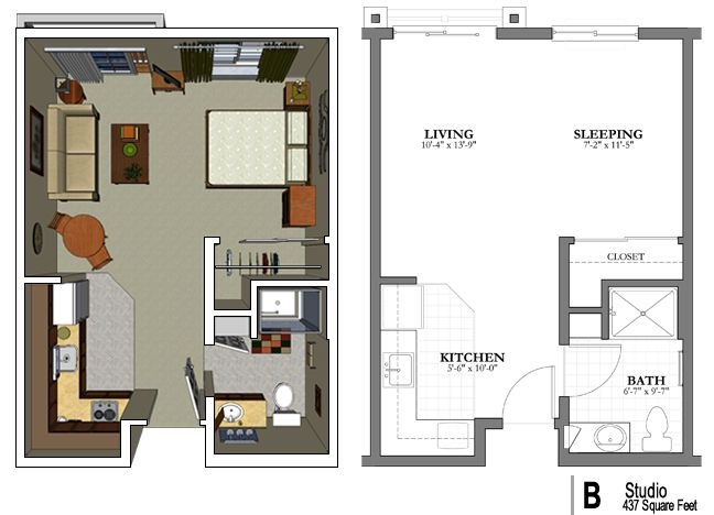 Long narrow studio apartment floor plans gurus floor for Narrow apartment plans