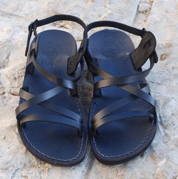 black sandals black leather sandal for women sandals by Holysouq