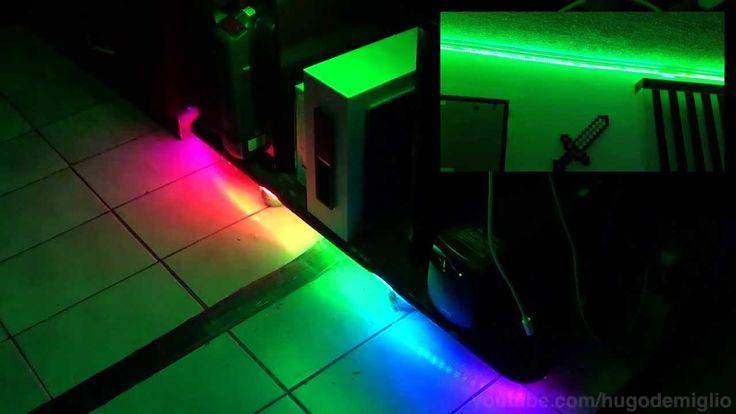 Fitas de LED RGB controle por música, efeitos e gaveta automática