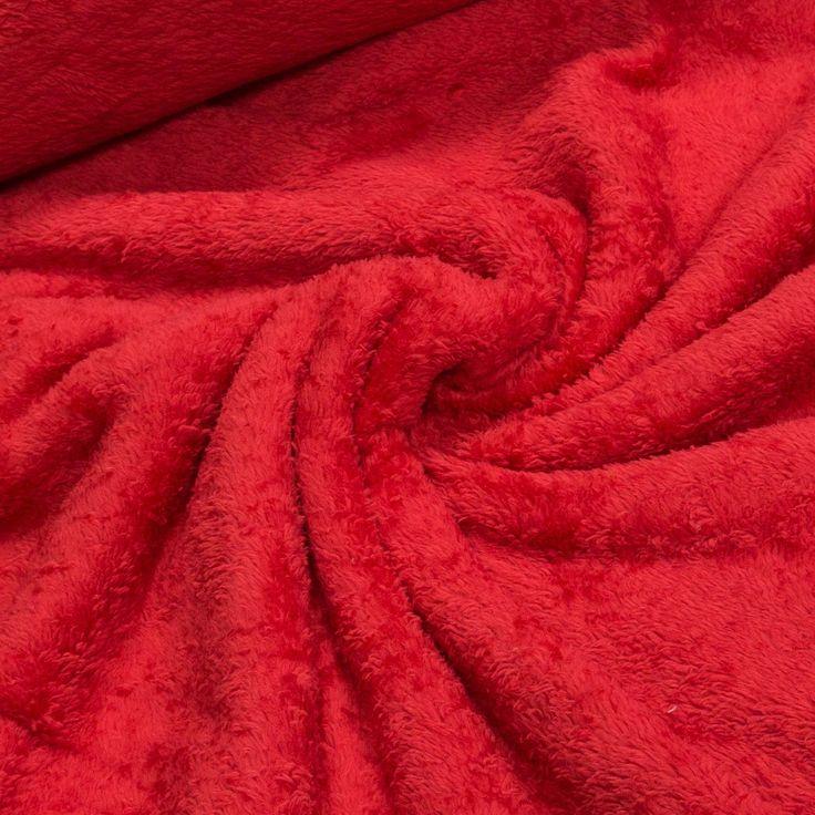 Mikroplyš / coral fleece 059 jednobarevná červená, š.175cm (látka v metráži) | Internetový obchod Chci Látky.cz