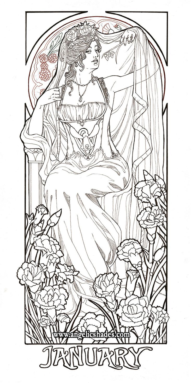 january muse coloring page - Amish Children Coloring Book Pages
