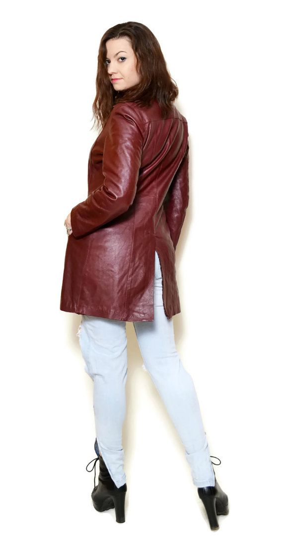 20%OFF red leather jacket vintage 90s clothing by SixVintageChicks