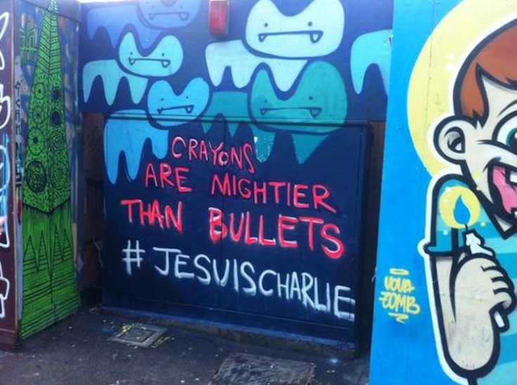 """""""Les crayons sont plus forts que les balles"""" par Pure Evil à Shoreditch (Londres)"""