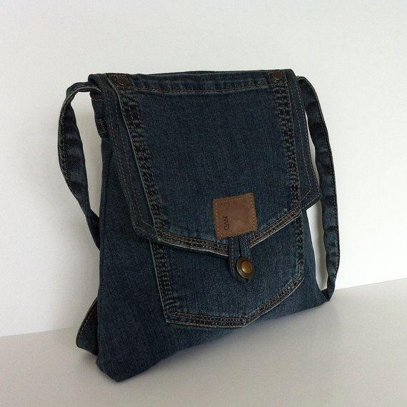 Reclaimed messenger bag , Blue recycled denim cross body bag , Eco friendly jean purse