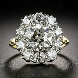 2.83 Carat Center European-Cut Diamond Cluster Vintage Engagement Ring