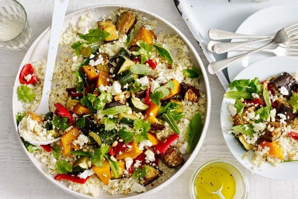 Cauliflower rice recipe with hearty roast vegetables and Middle Eastern flavours.