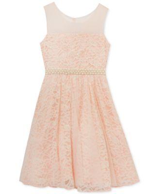 Rare Editions Blush Lace Dress, Big Girls (7-16)