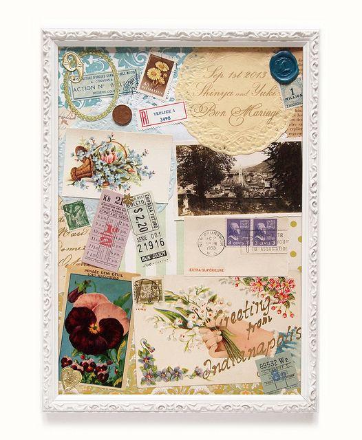 wedding collage welcome board アンティークの紙ものを重ねて制作したウェルカムボード http://lumiiere-eri.blogspot.jp/