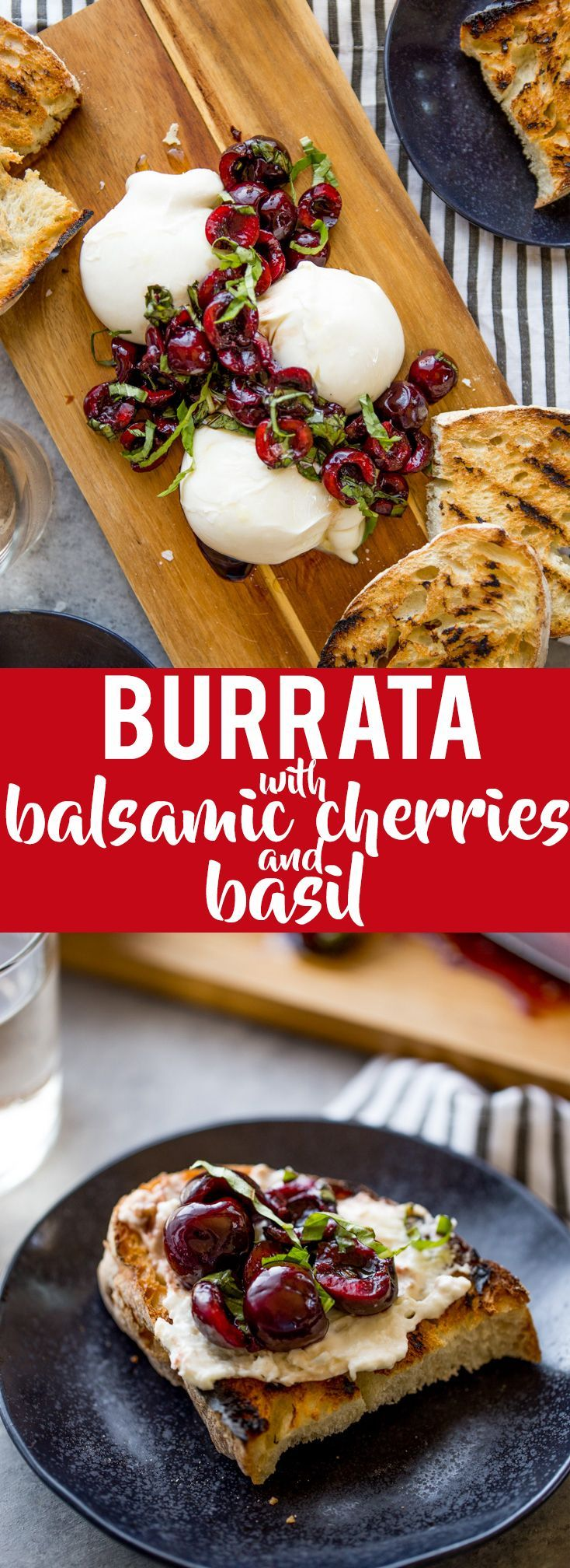 This Burrata with Balsamic Cherries and Basil the ultimate summer appetizer! Creamy, fresh burrata paired with juicy cherries and fragrant basil uses summer produce at its best, and no cooking required! Summer appetizers | Cherry Recipes | basil Recipes |
