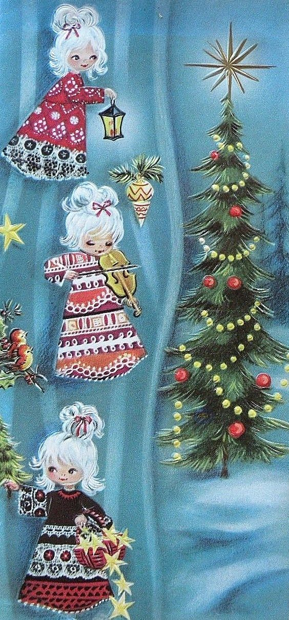 Vintage Christmas Card Merry Christmas Leslie and Emily