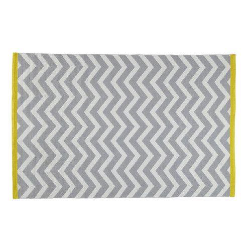 90€  Tapis à poils courts en coton gris 140 x 200 cm WAVE