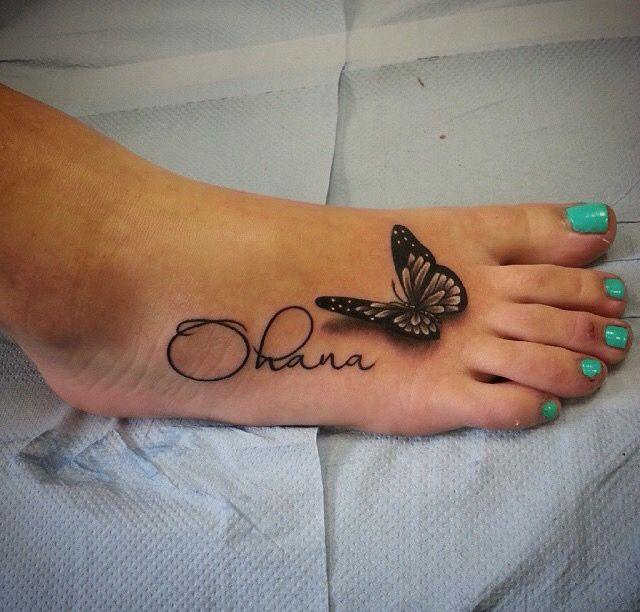 Foot tattoo. Butterfly. Ohana. Family. Girly. Small tattoo.
