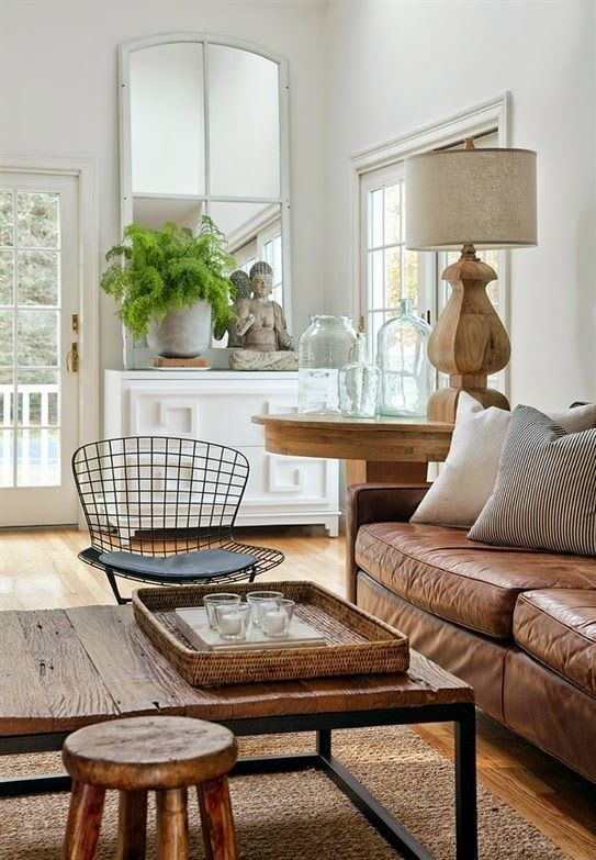 Neutral Living Room In White, Beige And Tan With Lots Of Texture   Seagrass  Area Rug, Rustic Wood Coffee Table, Leather Sofa, Wood Lamp Base   Neutral  Home ...