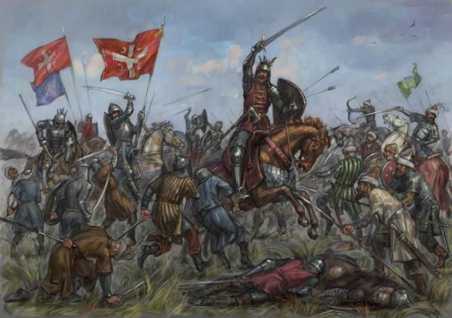 The Battle of Kosovo  took place on 15 June 1389 between the army led by the Serbian Prince Lazar Hrebeljanović, and the invading army of the Ottoman Empire under the command of Sultan Murad Hüdavendigâr. The bulk of both armies were wiped out in the battle; both Lazar and Murad lost their lives in it.