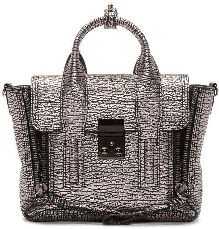 3.1 Phillip Lim Black & Mauve Metallic Leather Mini Pashli Bag