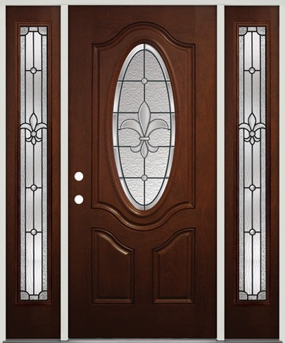 Fleur de lis fiberglass entry door pre finished to look for Mahogany door skin