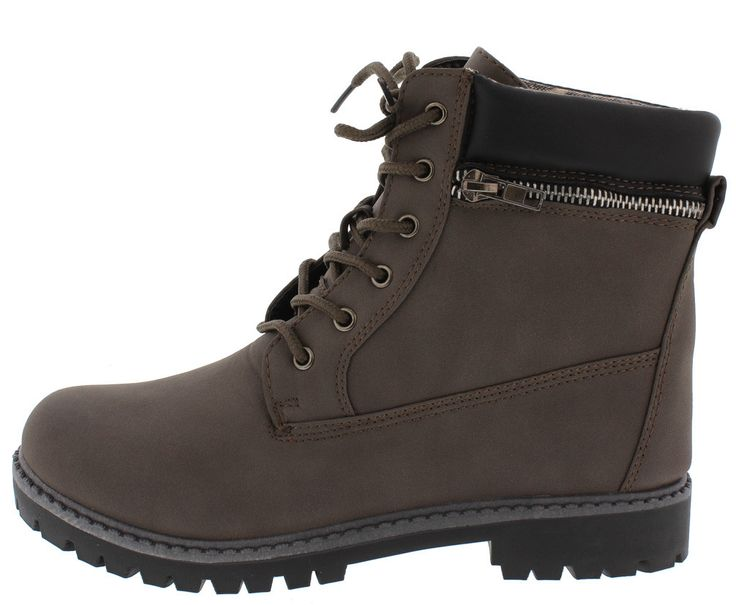 DALLAS10 GREY UTILITY LACE UP ZIPPER LUG BOOT oNLY $17.88