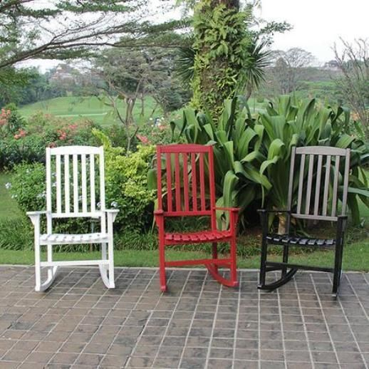 Wooden Rocking Chair Front Porch Rocker Summer Nights Choose White Red Black  #Unbranded #Traditional