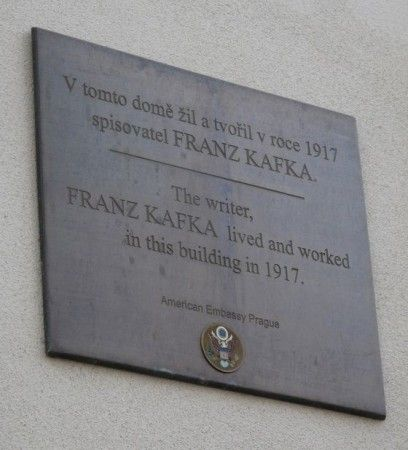 A house plaque on the building belonging to Prague US Embassy - Trziste 15, Kafka lived here.