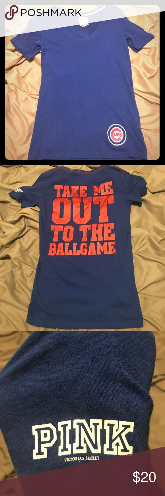 """Pink Victoria Secret Chicago Cubs T-Shirt Pink Victoria Secret Chicago Cubs T-Shirt. Worn a few times. Great condition. Royal blue with Cubs logo on bottom left of the front and """"Take me out to the ballgame"""" in red on the back. Size M PINK Victoria's Secret Tops Tees - Short Sleeve"""