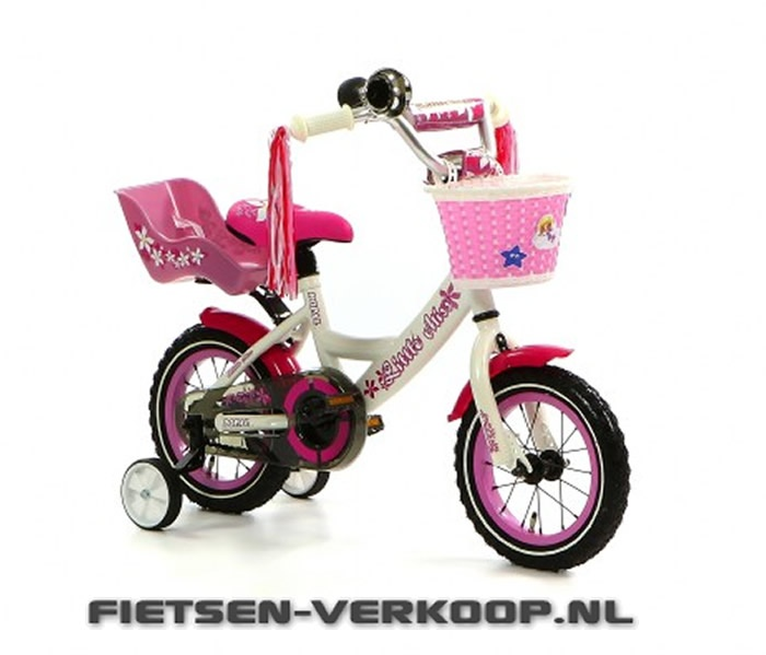 Meisjesfiets Little Miss Wit 12 Inch   bestel gemakkelijk online op Fietsen-verkoop.nl