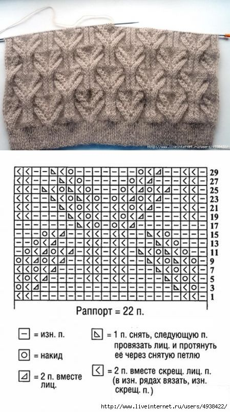 Узор спицами. Фото + схема | Knitting | Postila