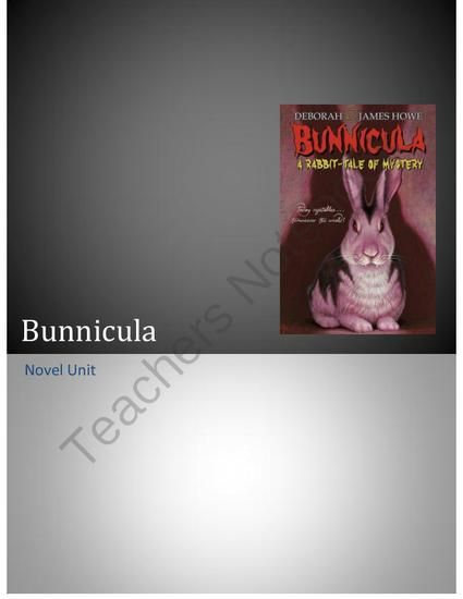 Free Bunnicula Worksheets and Literature Unit for Teachers ...