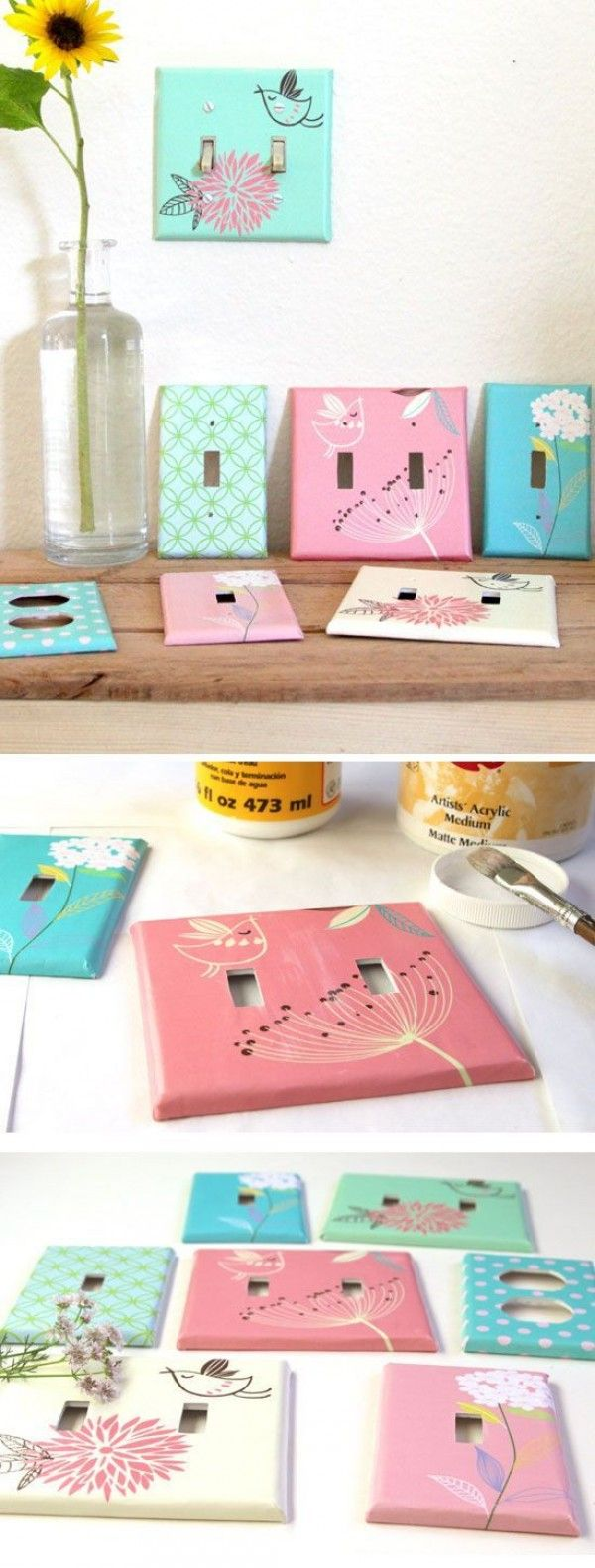 Check out the tutorial: #DIY designer light switch plate #crafts #homedecor