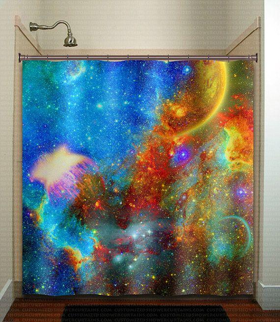 Rainbow Nebula Planet Outer Space shower curtain bathroom decor fabric kids bath window curtains panels bathmat valance