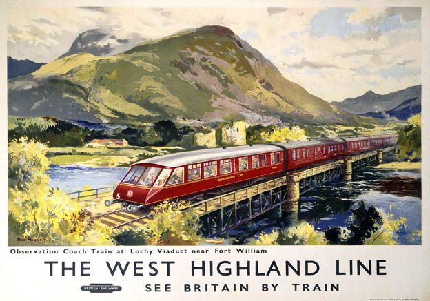 The West Highland Line Lochy Viaduct BR Vintage Travel Poster by Jack Merriott