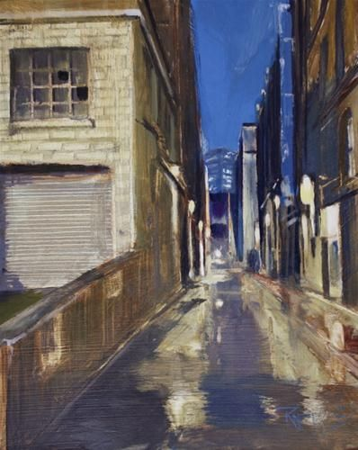 """""""Night Alley  Seattle alley oil painting by Robin Weiss"""" by Robin Weiss"""