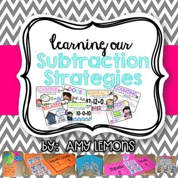 Are you looking to pump up your subtraction activities?  This unit will help teach your students different subtraction strategies, and make learning lots of fun!  If you enjoyed my Addition Strategies unit then hopefully you will love this one as well!Here's what is included:-7 Strategy Posters:  Counting Up, Counting Back, Subtract All, Subtract Zero, Using Doubles, Related Facts, Make a Model (and small posters for students as well)-Subtraction Resources:  Numbers Line to 10, Number Line…
