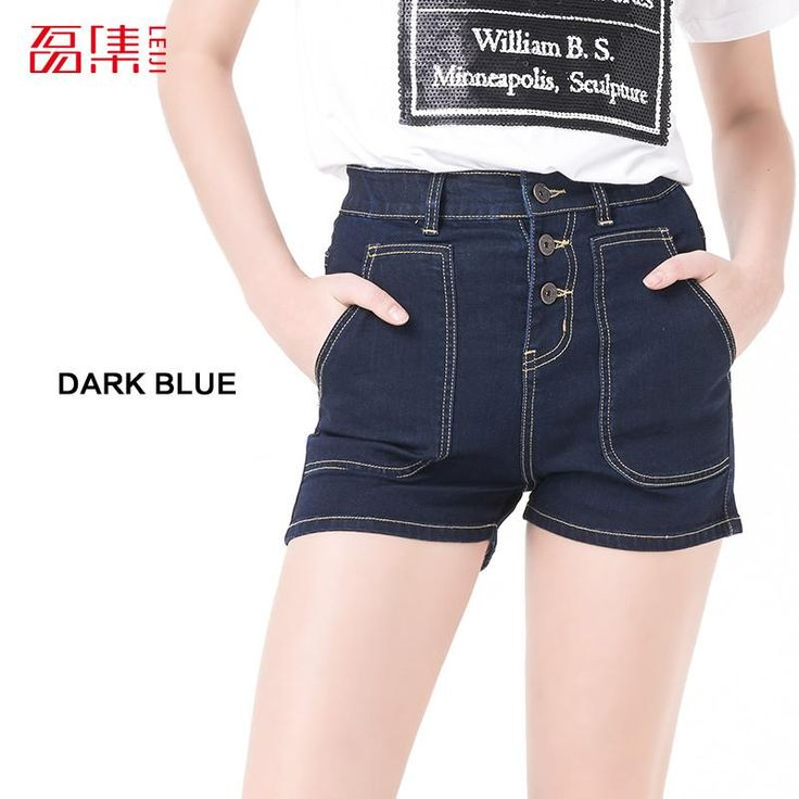 Leiji S- 6XL 2016 fashion blue Plus Size Women High Waist Denim Elastic Washed jeans Summer Style woman cotton shorts