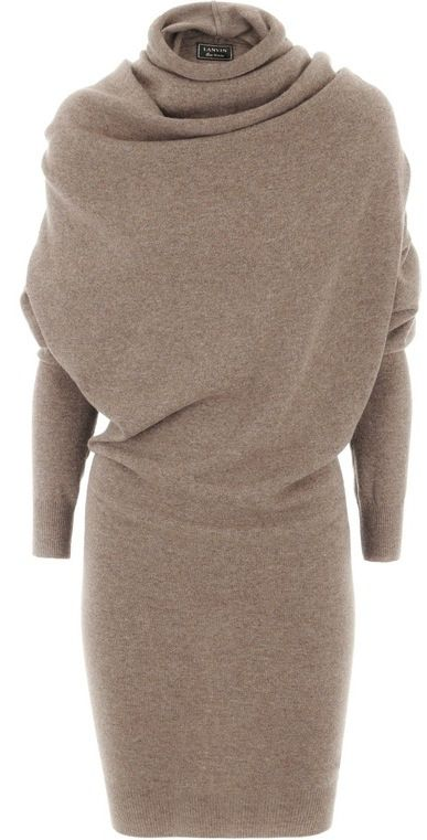 lanvin taupe wool cashmere dress