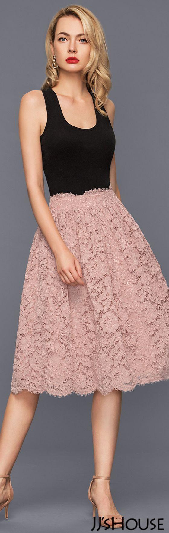 A-Line/Princess Knee-Length Lace Cocktail Dress#JJsHouse #Cocktail dresses