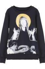 Black Long Sleeve Virgin Mary Print Sweatshirt $46.13