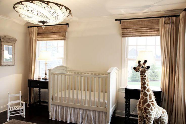 Outside Mount Bamboo Roman Shades Baby Room Neutral