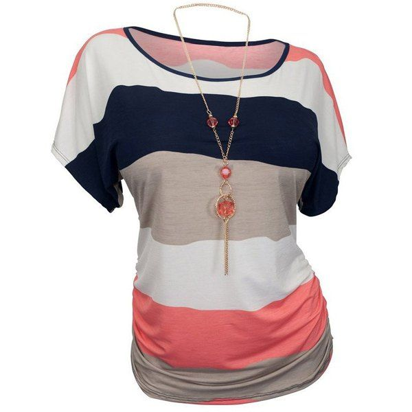 Casual Round Neck Striped Women's Plus Size T-Shirt