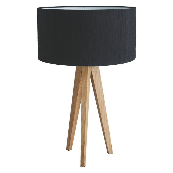 TRIPOD Ash wooden tripod table lamp base with black silk shade | Buy now at Habitat UK