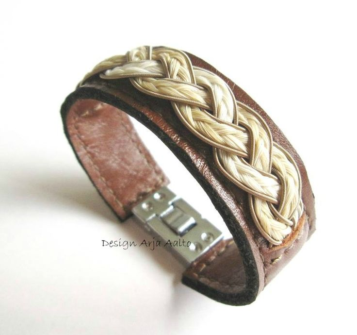 Horsehair wrist cuff. Made of leather, horsehair and wire.