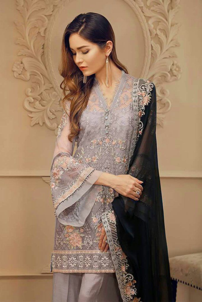 9ed50c264b Pakistani Designer Chiffon Dress by Chantell Jazmine in Grey and Dark Blue  Color at Nameera by Farooq, Pakistani Designer Chiffon Dress by Chantell in  Gray ...