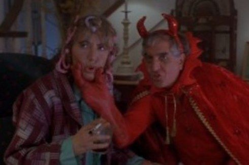 """Penny and Garry Marshall as the Master's Wife and the Devil. 